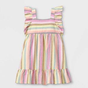 Cat & Jack Rainbow Striped Ruffle Sundress